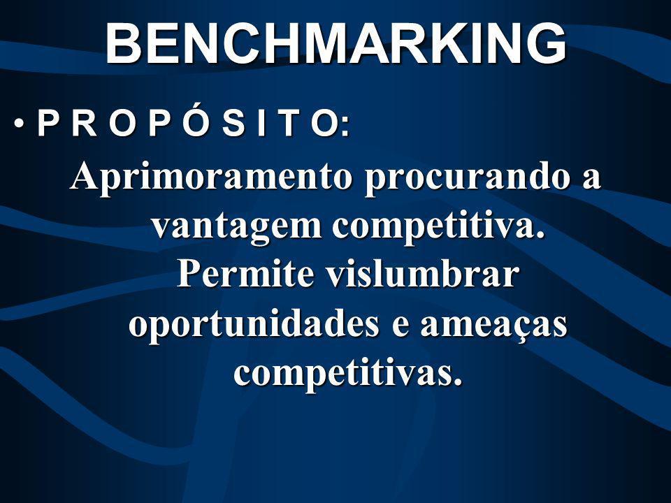 BENCHMARKING P R O P Ó S I T O: Aprimoramento procurando a vantagem competitiva.