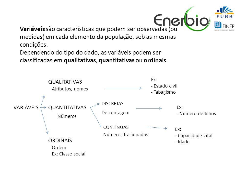 Variáveis são características que podem ser observadas (ou medidas) em cada elemento da população, sob as mesmas condições.