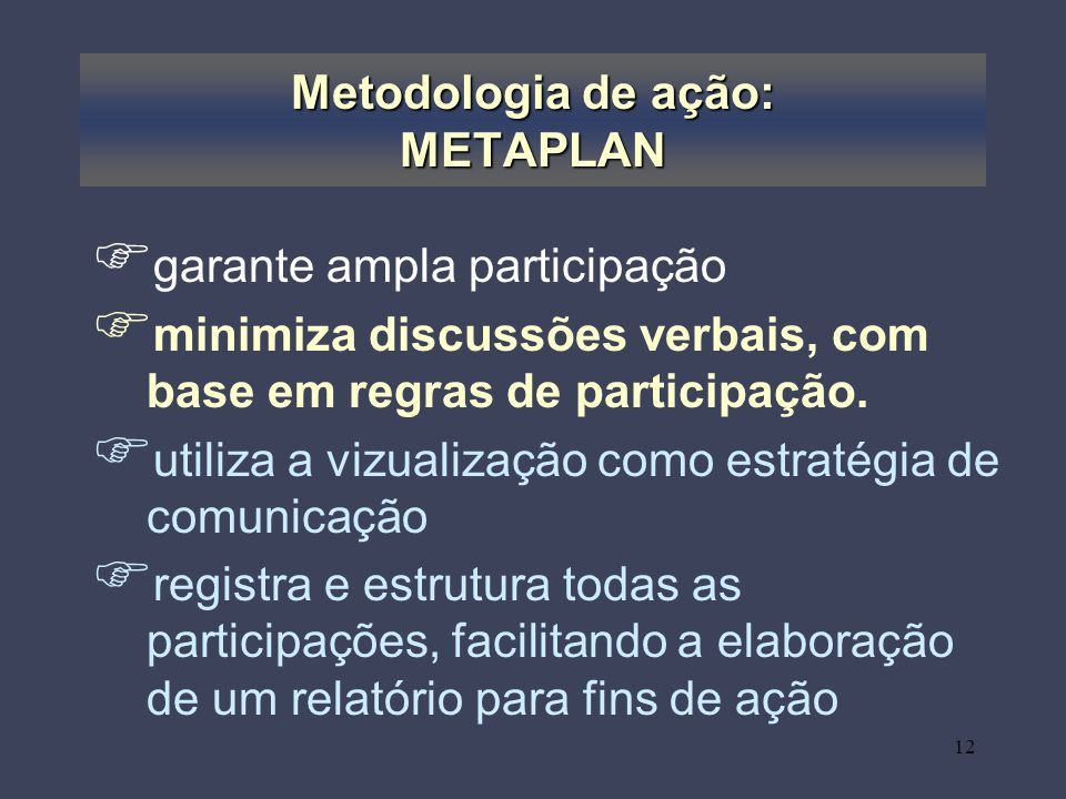 Metodologia de ação: METAPLAN