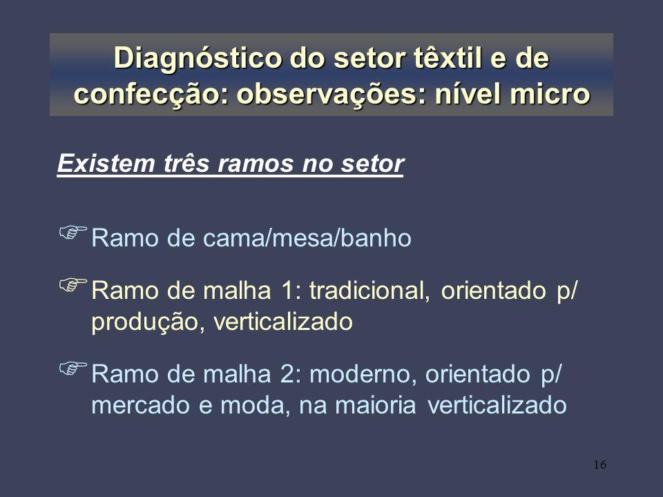 Diagnóstico do setor têxtil e de confecção: observações: nível micro
