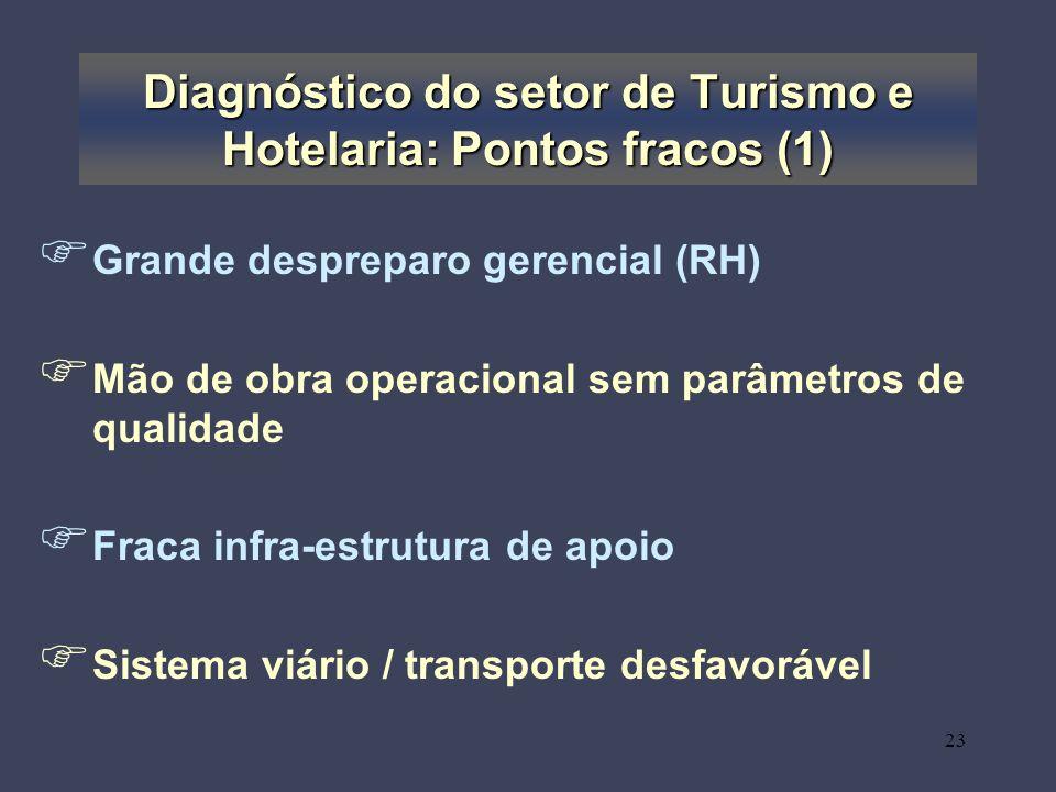 Diagnóstico do setor de Turismo e Hotelaria: Pontos fracos (1)