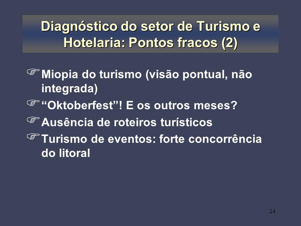 Diagnóstico do setor de Turismo e Hotelaria: Pontos fracos (2)