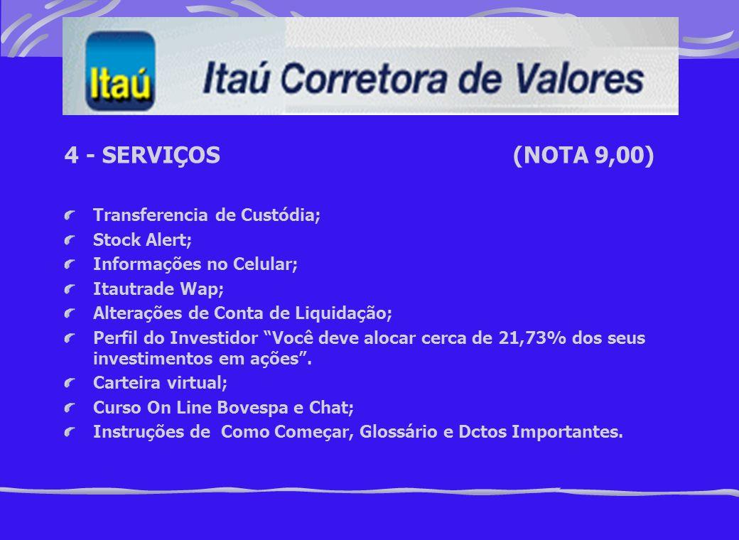 4 - SERVIÇOS (NOTA 9,00) Transferencia de Custódia; Stock Alert;