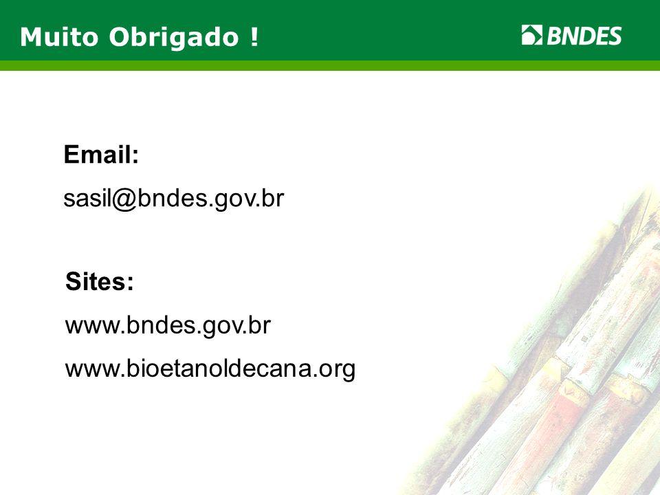Muito Obrigado ! Email: sasil@bndes.gov.br Sites: www.bndes.gov.br www.bioetanoldecana.org
