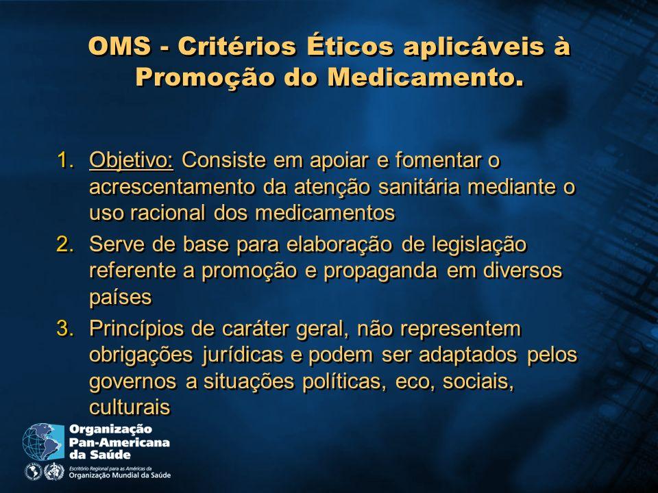 OMS - Critérios Éticos aplicáveis à Promoção do Medicamento.
