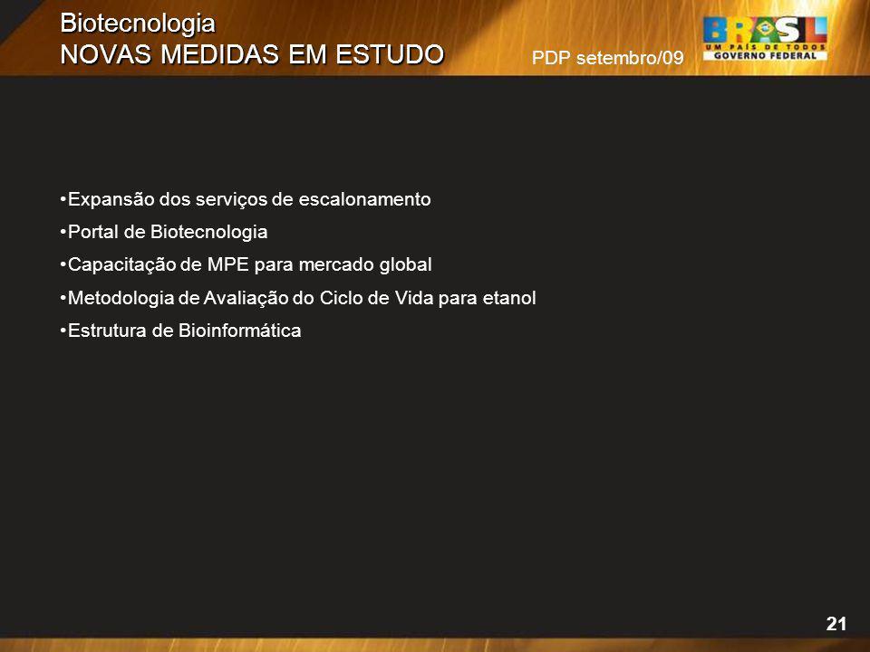 Biotecnologia NOVAS MEDIDAS EM ESTUDO