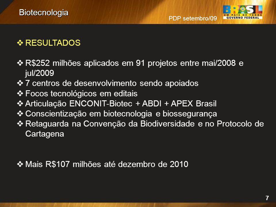 R$252 milhões aplicados em 91 projetos entre mai/2008 e jul/2009