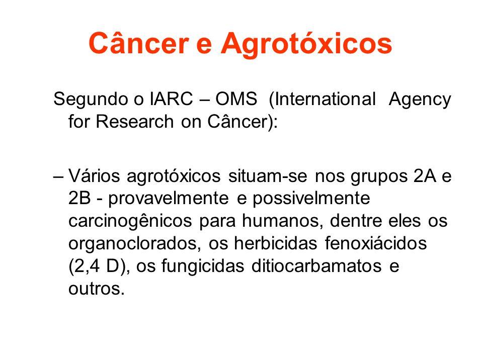 Câncer e AgrotóxicosSegundo o IARC – OMS (International Agency for Research on Câncer):