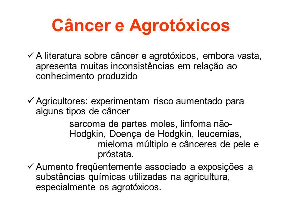 Câncer e Agrotóxicos A literatura sobre câncer e agrotóxicos, embora vasta, apresenta muitas inconsistências em relação ao conhecimento produzido.