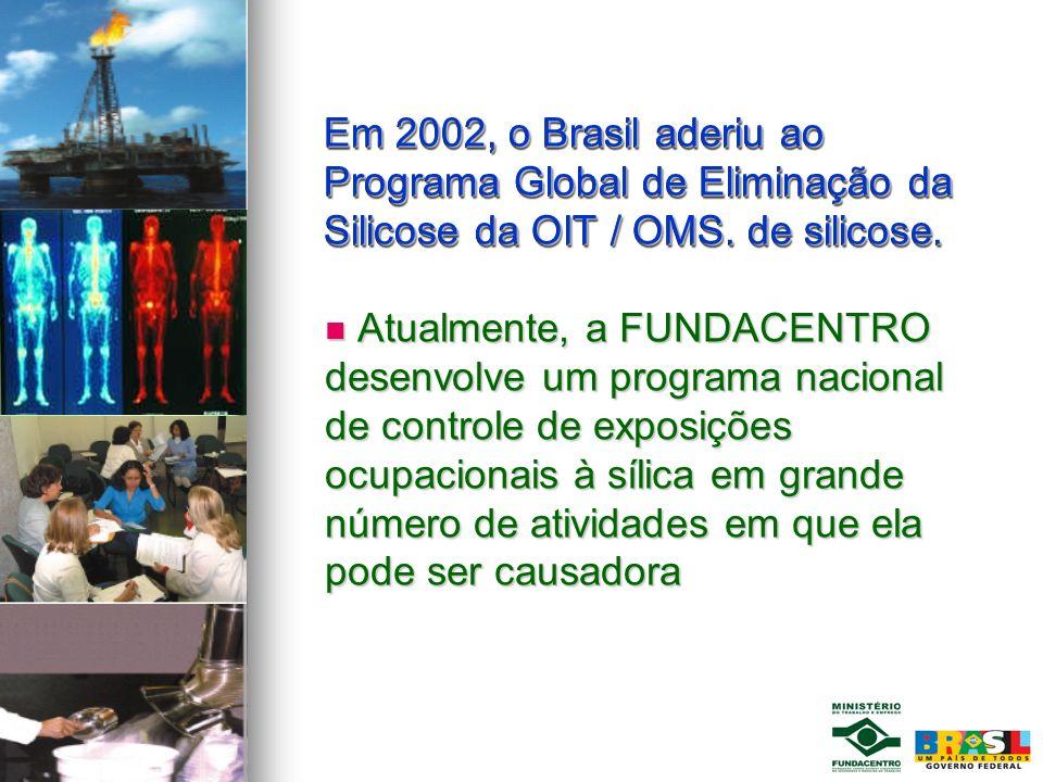 Em 2002, o Brasil aderiu ao Programa Global de Eliminação da Silicose da OIT / OMS. de silicose.