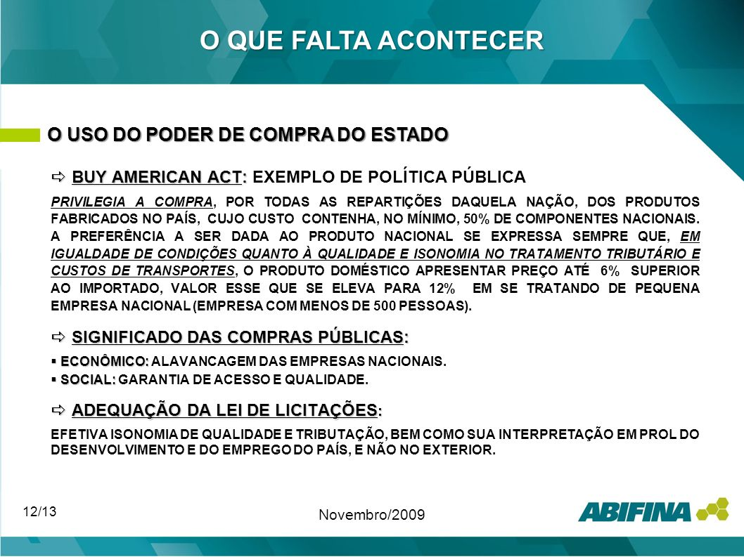O QUE FALTA ACONTECER O USO DO PODER DE COMPRA DO ESTADO