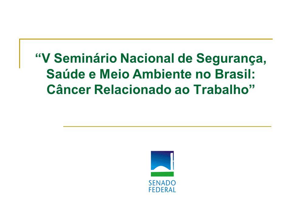V Seminário Nacional de Segurança, Saúde e Meio Ambiente no Brasil: Câncer Relacionado ao Trabalho