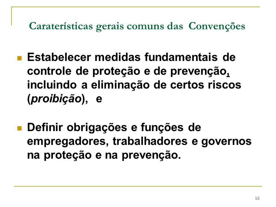 Caraterísticas gerais comuns das Convenções