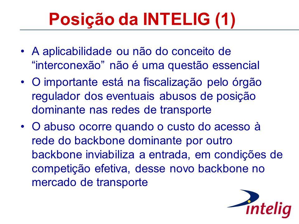 Posição da INTELIG (1) A aplicabilidade ou não do conceito de interconexão não é uma questão essencial.