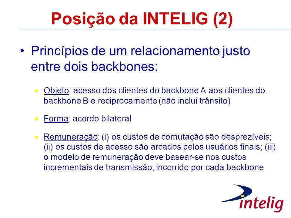 Posição da INTELIG (2) Princípios de um relacionamento justo entre dois backbones: