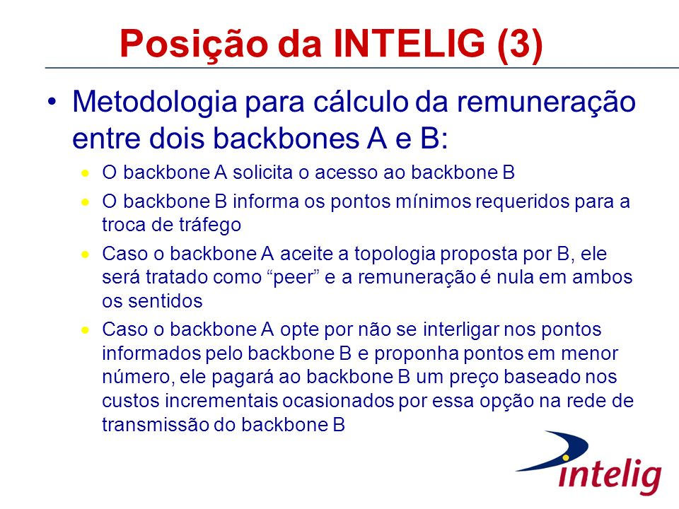 Posição da INTELIG (3) Metodologia para cálculo da remuneração entre dois backbones A e B: O backbone A solicita o acesso ao backbone B.