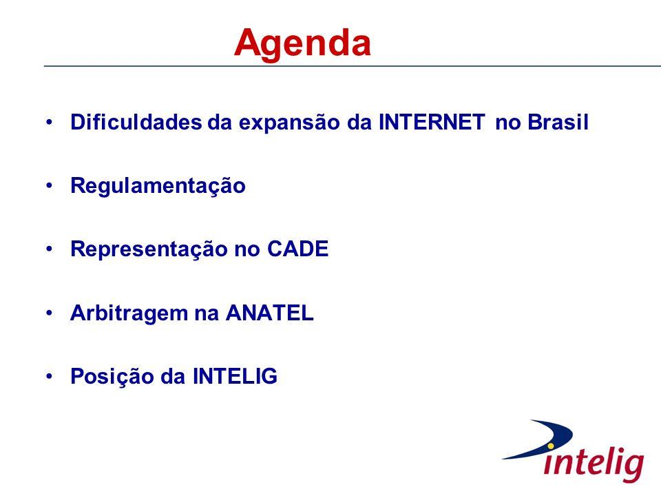 Agenda Dificuldades da expansão da INTERNET no Brasil Regulamentação