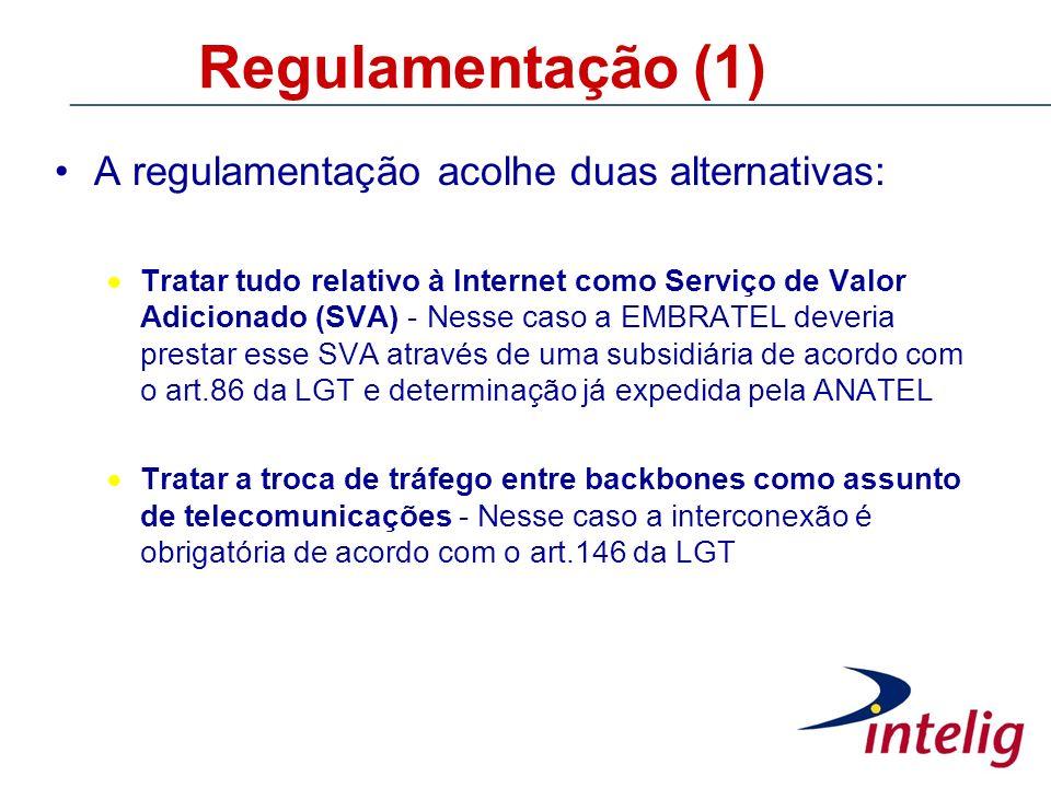 Regulamentação (1) A regulamentação acolhe duas alternativas: