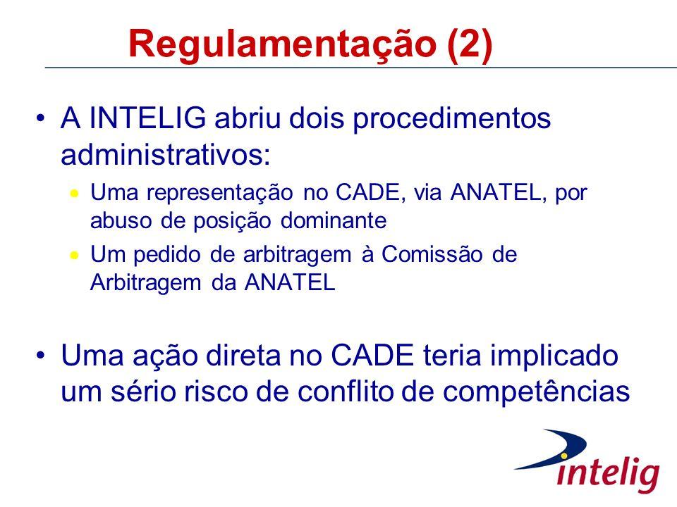 Regulamentação (2) A INTELIG abriu dois procedimentos administrativos: