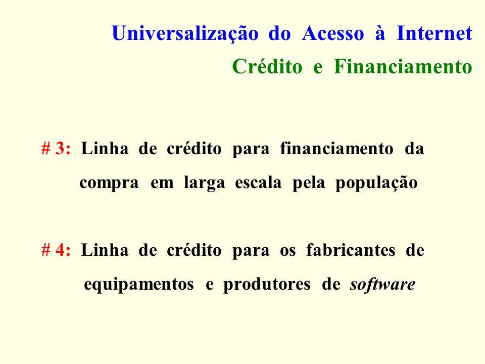 Universalização do Acesso à Internet Crédito e Financiamento