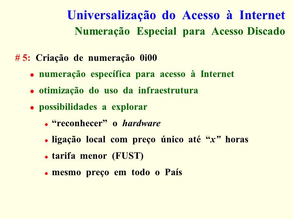 Universalização do Acesso à Internet Numeração Especial para Acesso Discado