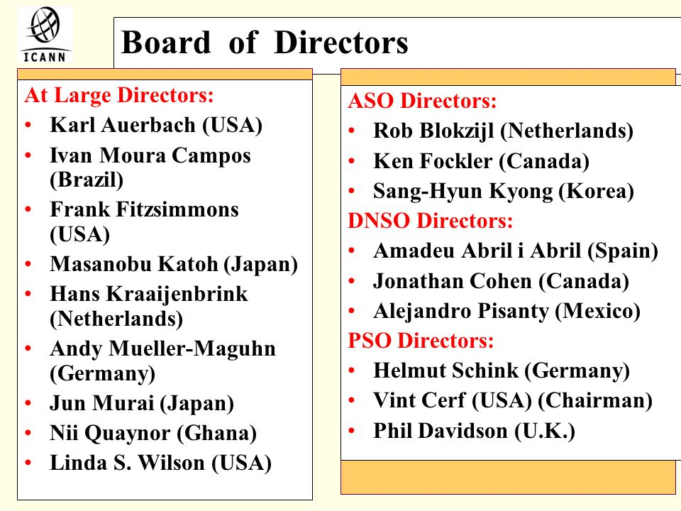 Board of Directors At Large Directors: ASO Directors: