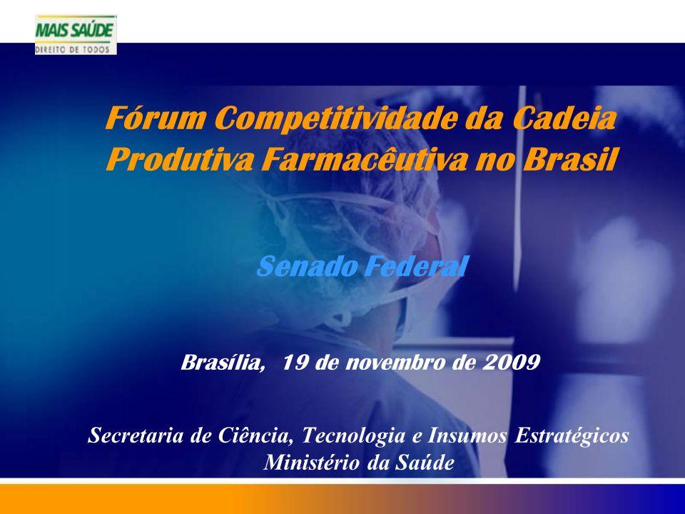 Fórum Competitividade da Cadeia Produtiva Farmacêutiva no Brasil Senado Federal Brasília, 19 de novembro de 2009 Secretaria de Ciência, Tecnologia e Insumos Estratégicos Ministério da Saúde