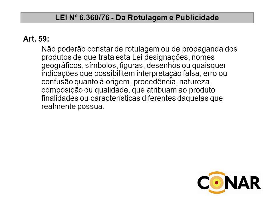 LEI Nº 6.360/76 - Da Rotulagem e Publicidade