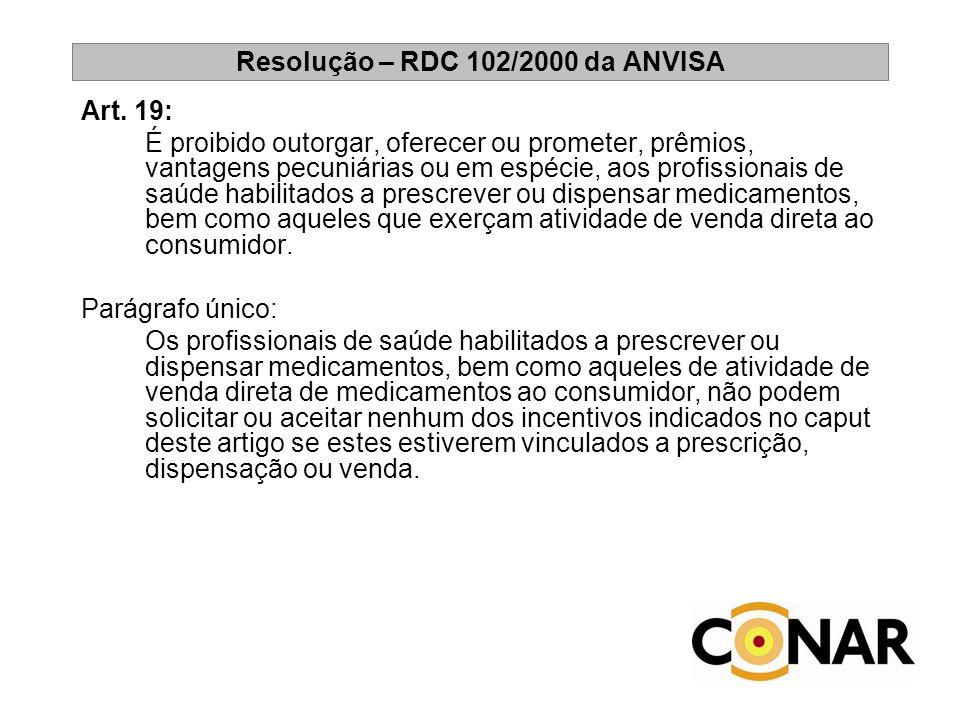 Resolução – RDC 102/2000 da ANVISA