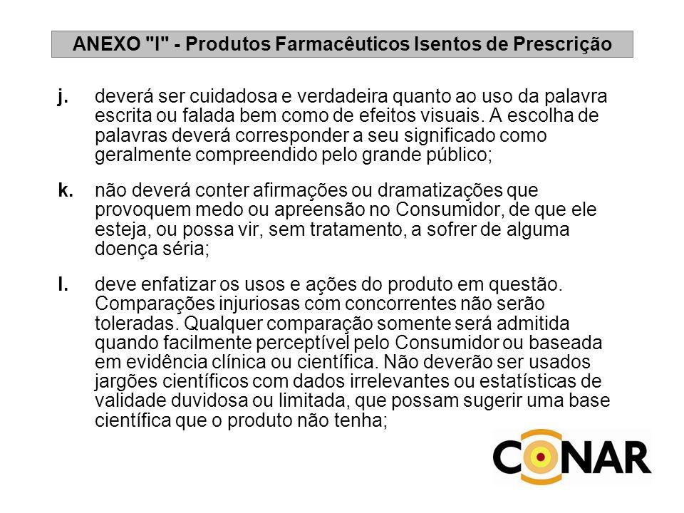 ANEXO I - Produtos Farmacêuticos Isentos de Prescrição