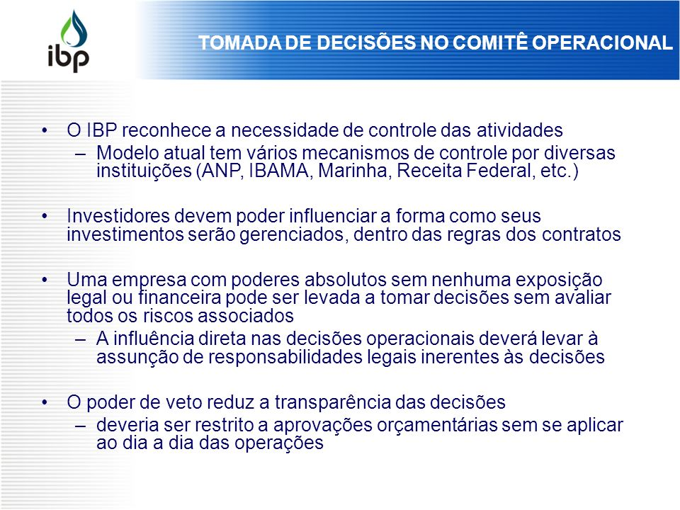 TOMADA DE DECISÕES NO COMITÊ OPERACIONAL
