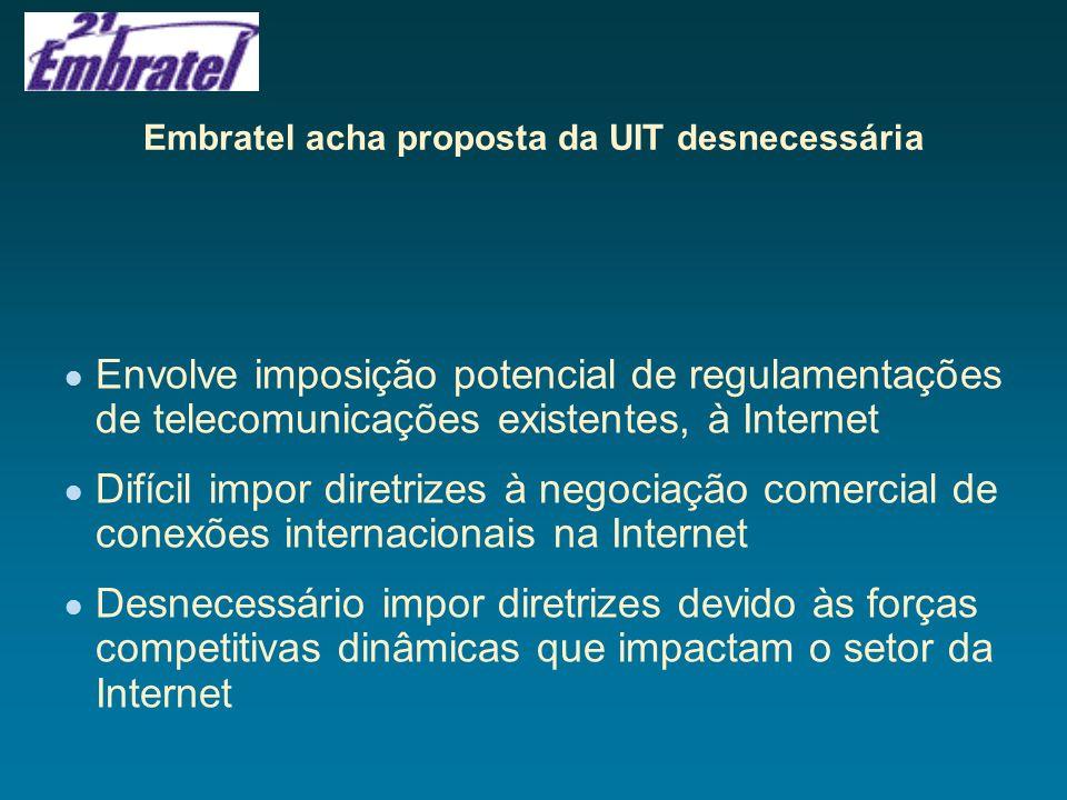 Embratel acha proposta da UIT desnecessária