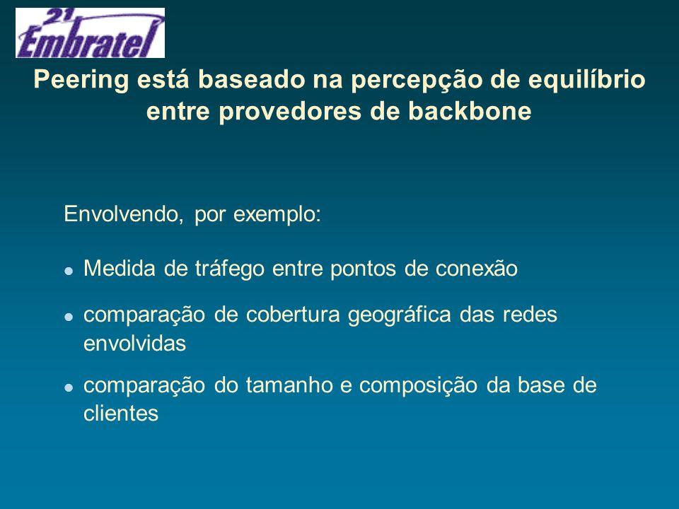 Peering está baseado na percepção de equilíbrio entre provedores de backbone