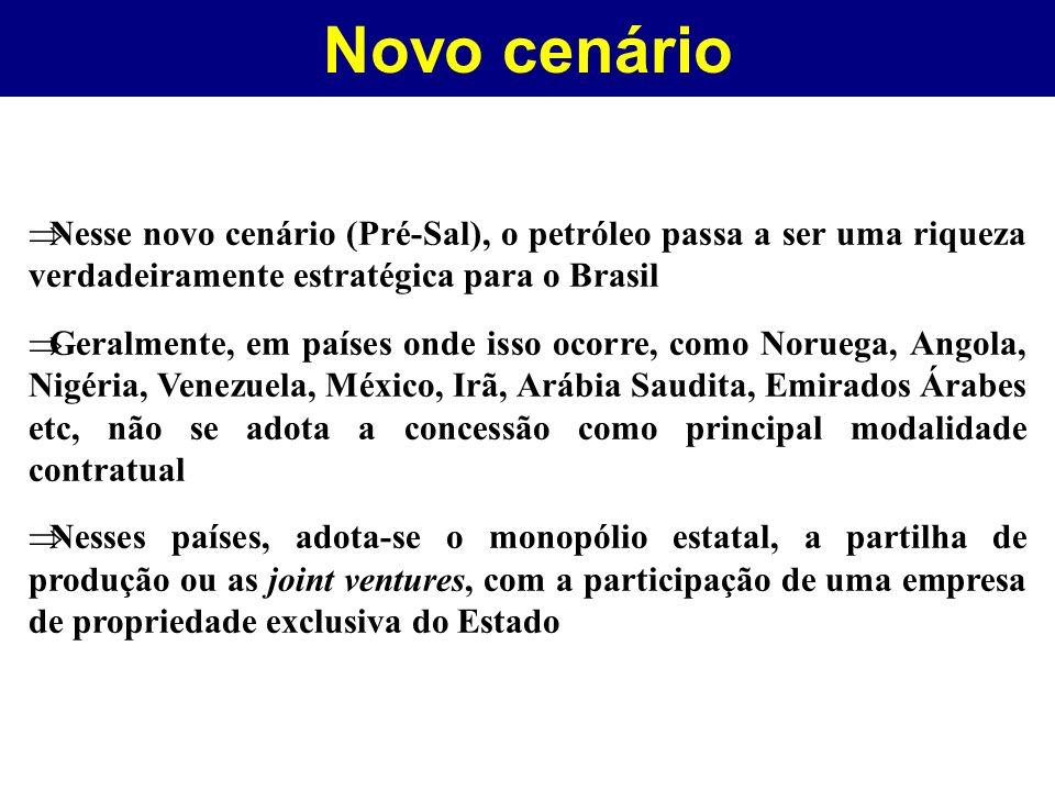 Novo cenário Nesse novo cenário (Pré-Sal), o petróleo passa a ser uma riqueza verdadeiramente estratégica para o Brasil.