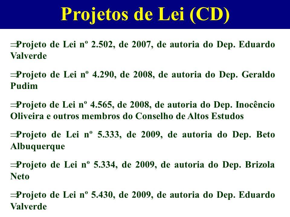 Projetos de Lei (CD) Projeto de Lei nº 2.502, de 2007, de autoria do Dep. Eduardo Valverde.