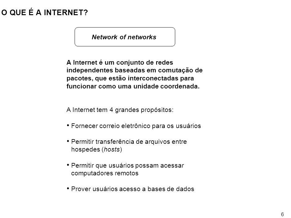 O QUE É A INTERNET A Internet é um sistema de informação global que: