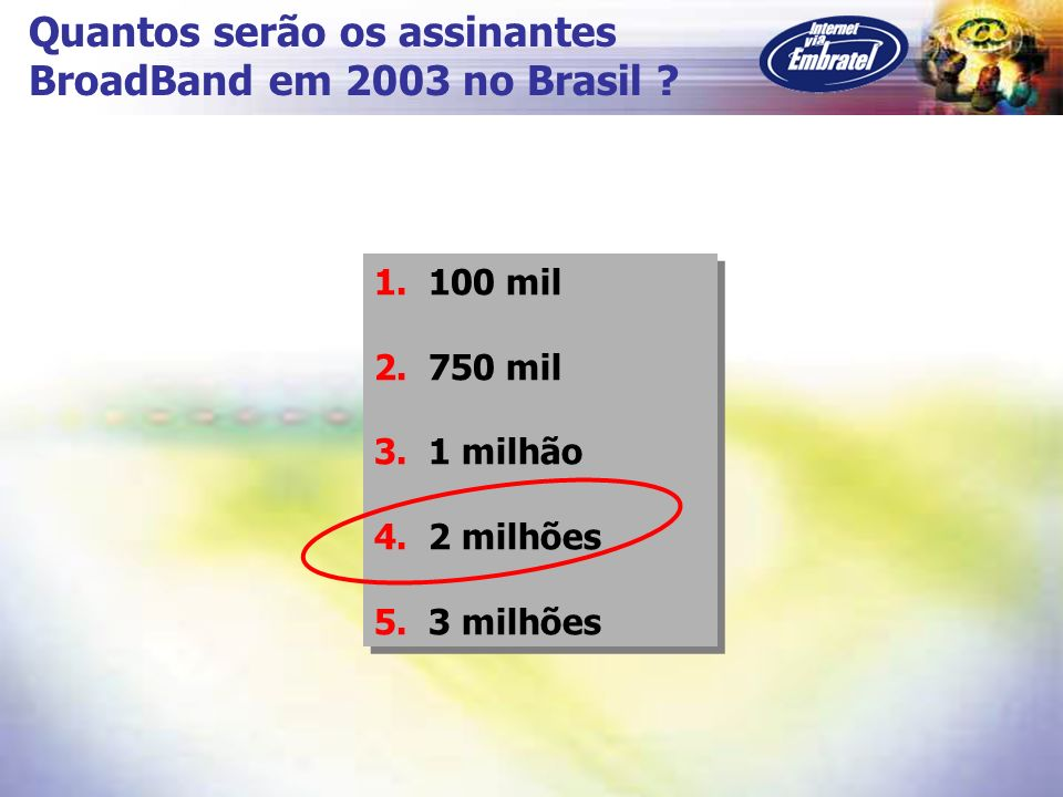 Quantos serão os assinantes BroadBand em 2003 no Brasil