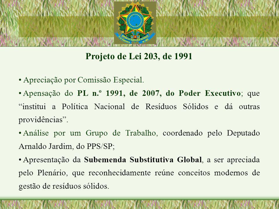 Projeto de Lei 203, de 1991 Apreciação por Comissão Especial.