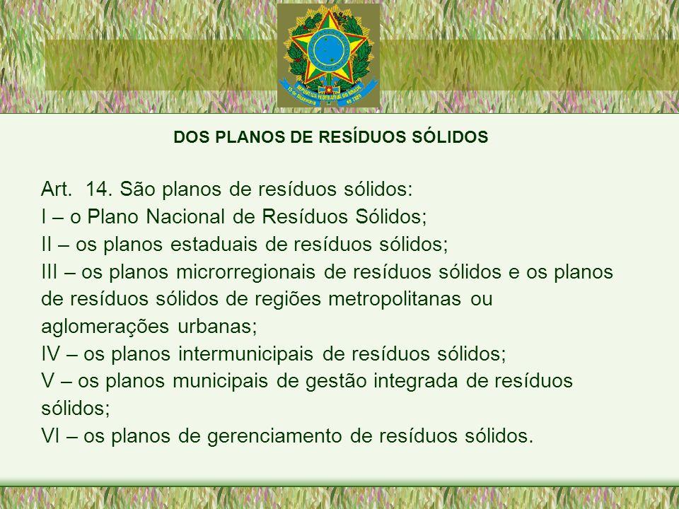DOS PLANOS DE RESÍDUOS SÓLIDOS