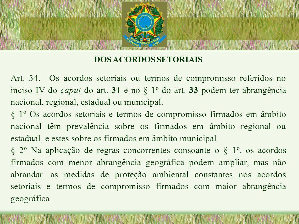 DOS ACORDOS SETORIAIS