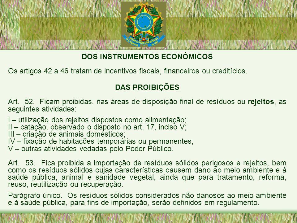 DOS INSTRUMENTOS ECONÔMICOS