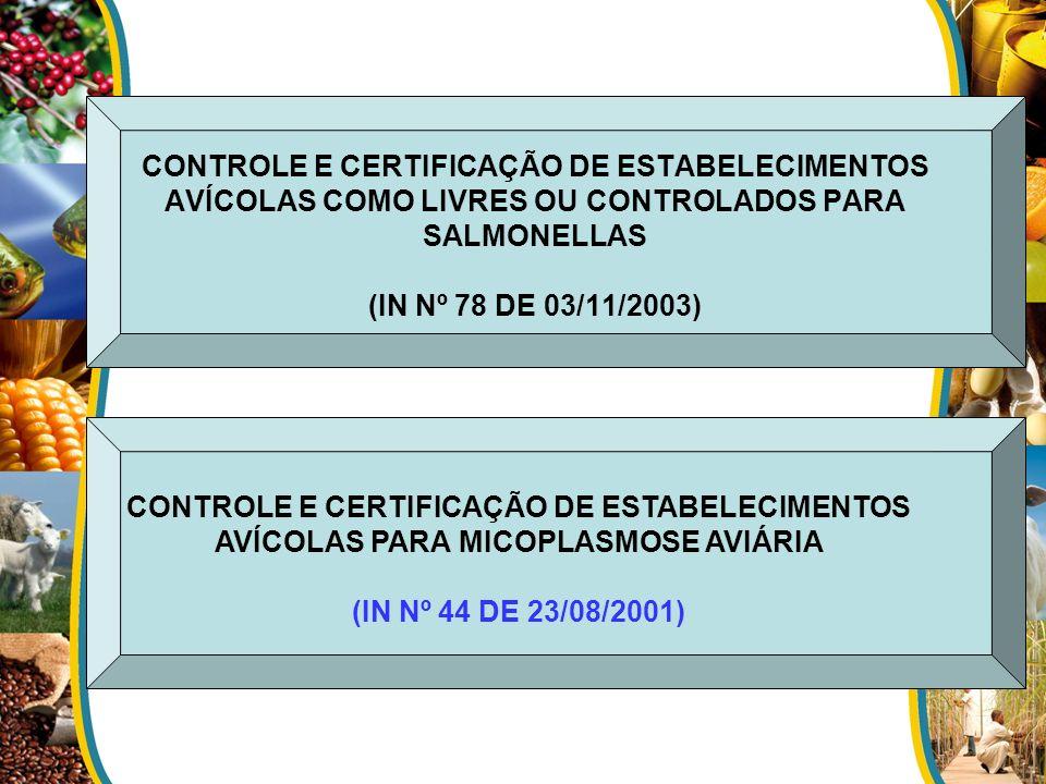 CONTROLE E CERTIFICAÇÃO DE ESTABELECIMENTOS AVÍCOLAS COMO LIVRES OU CONTROLADOS PARA SALMONELLAS (IN Nº 78 DE 03/11/2003)