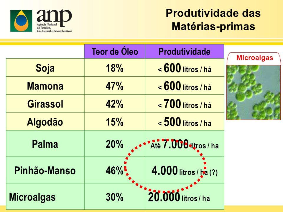 4.000 litros / ha ( ) 20.000 litros / ha Produtividade das