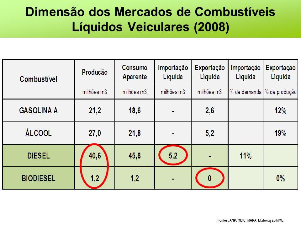 Dimensão dos Mercados de Combustíveis Líquidos Veiculares (2008)