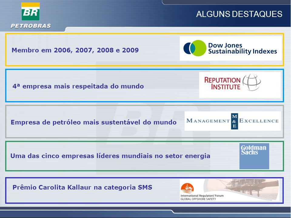 ALGUNS DESTAQUES Membro em 2006, 2007, 2008 e 2009