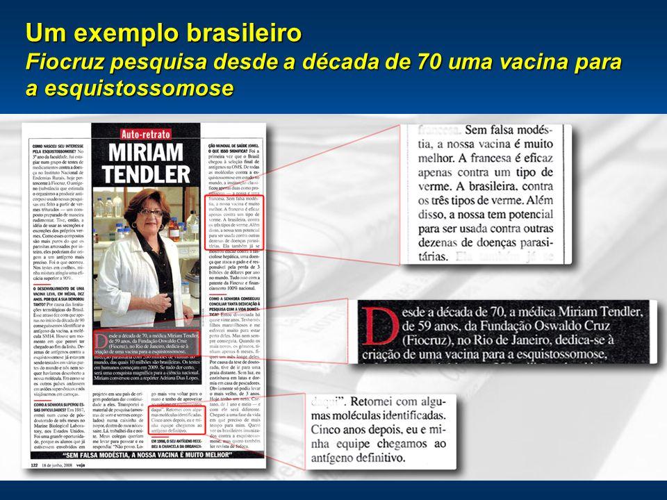 Um exemplo brasileiro Fiocruz pesquisa desde a década de 70 uma vacina para a esquistossomose