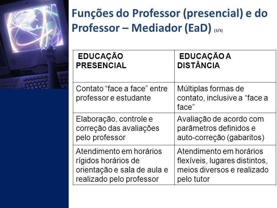 Funções do Professor (presencial) e do Professor – Mediador (EaD) (3/3)