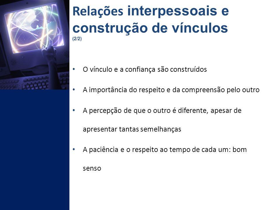 Relações interpessoais e construção de vínculos (2/2)