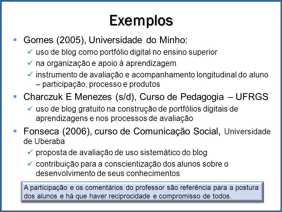 Exemplos Gomes (2005), Universidade do Minho:
