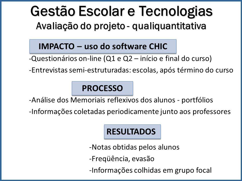 Gestão Escolar e Tecnologias Avaliação do projeto - qualiquantitativa